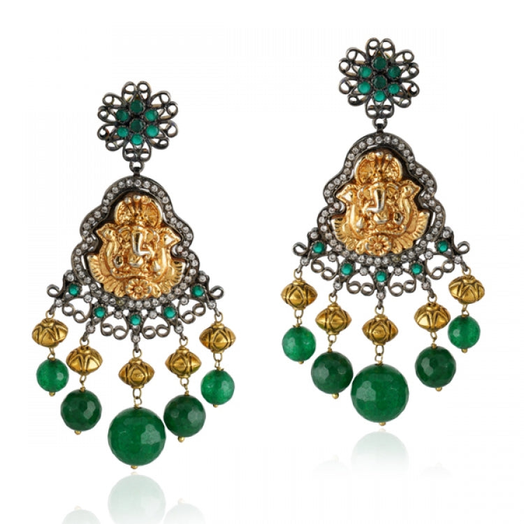 GOLD & SILVER PLATED TEMPLE GANESH  GREEN ZIRCON SET