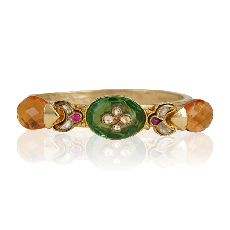 GOLD PLATED HASTHAM GREEN ORANGE KUNDAN BANGLE