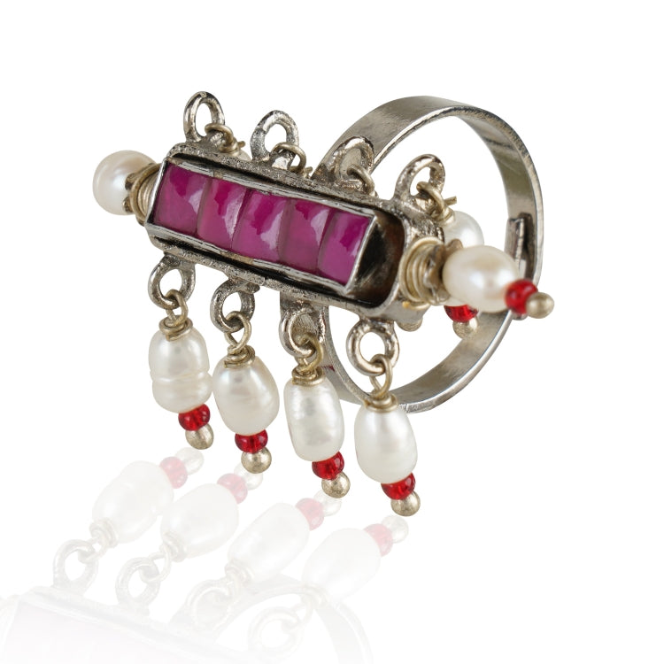 SILVER PLATED HASTHAM RED WHITE KUNDAN RING