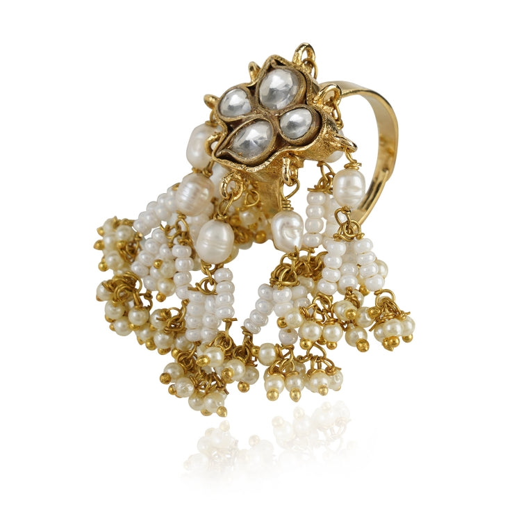 GOLD PLATED HASTHAM WHITE KUNDAN RING