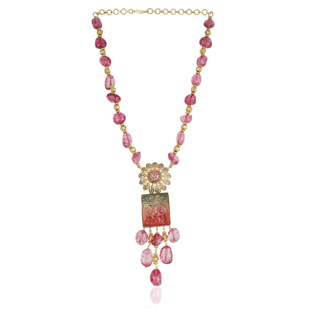 Gold Plated Baisakh  Zircon Flower Necklace Set