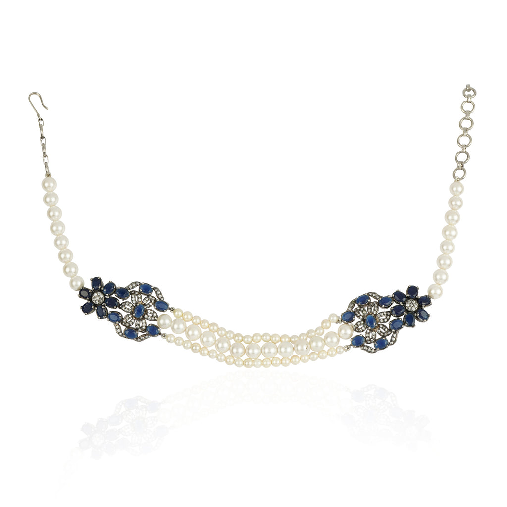 Silver Plated Baisakh Blue Iolite Choker Set