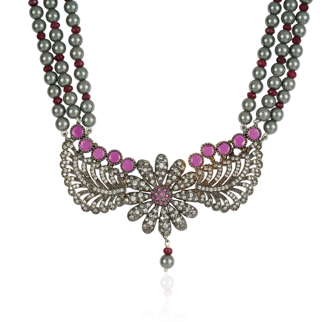 Silver Plated Baisakh Grey Ruby Necklace Set