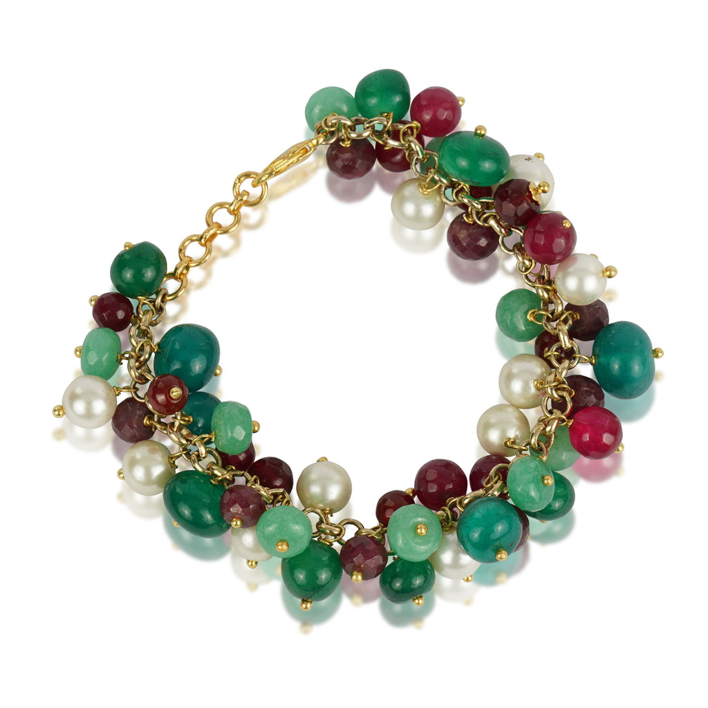 Gold Plated Ruby & Green Onyx Bracelet