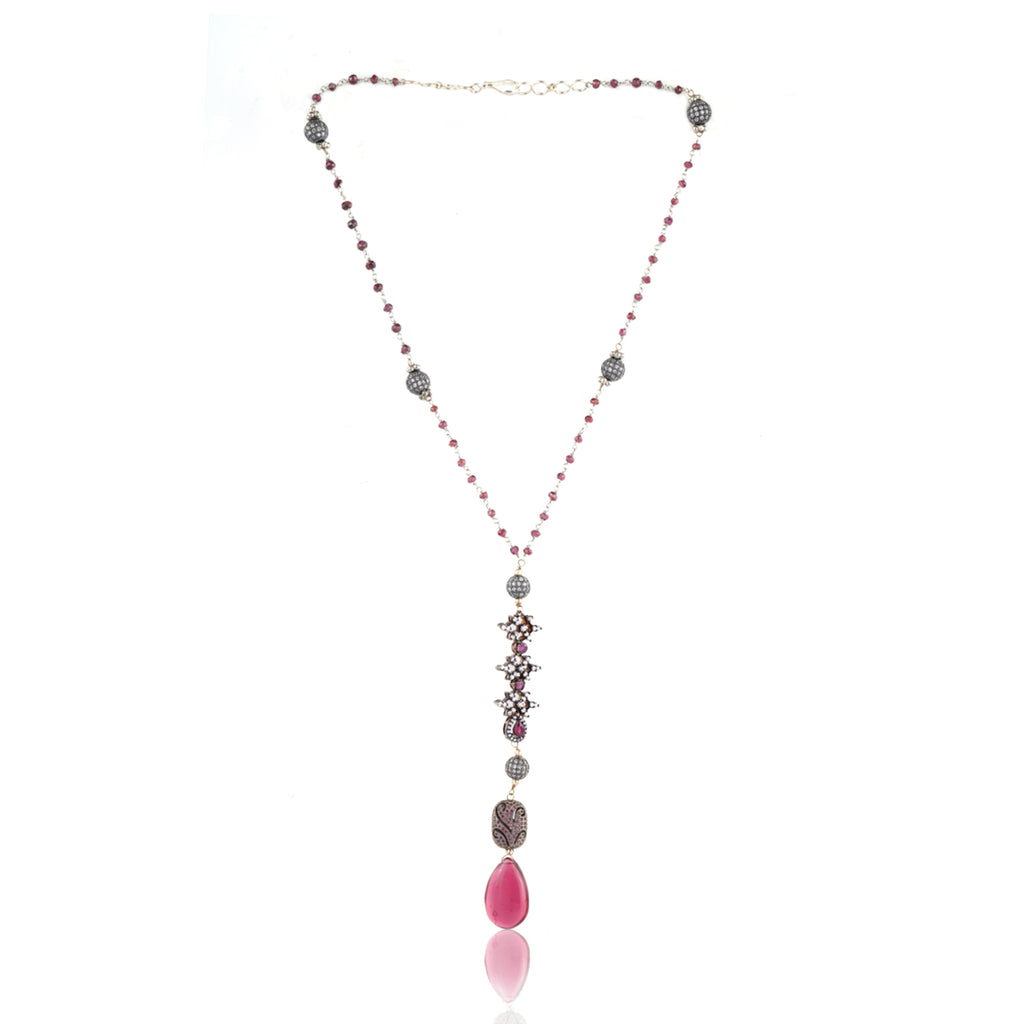 Silver Plated Celestial Victorian Tourmaline Necklace Set