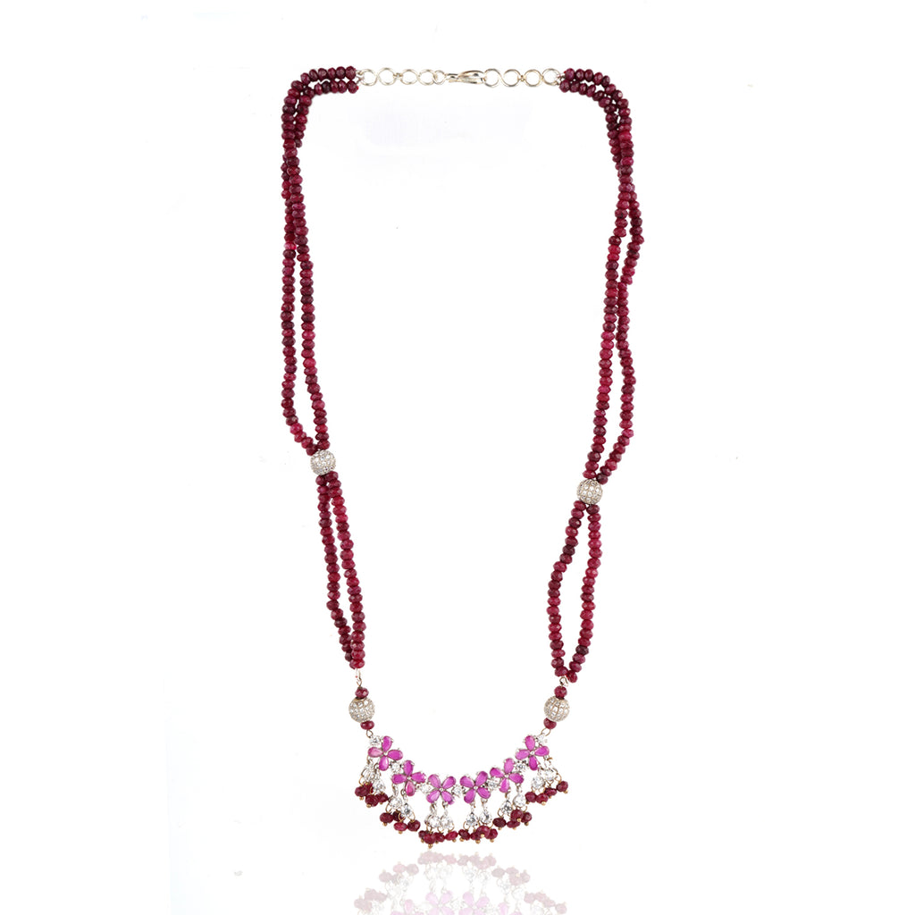 Silver Plated Celestial Ruby Onyx Necklace Set