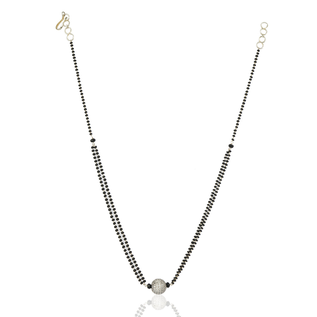 Silver Plated Zircon Ball Mangalsutra.