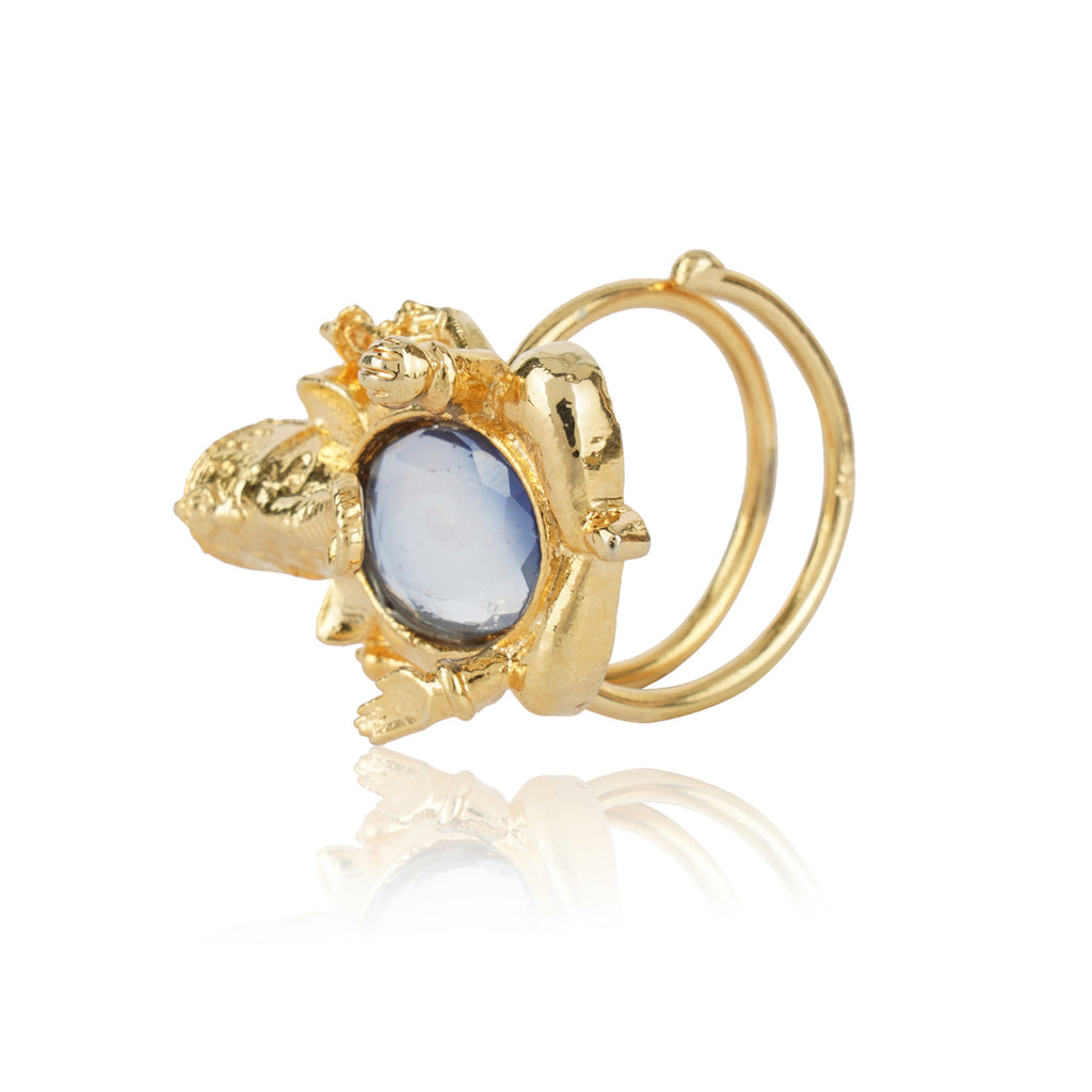 Gold Plated Blue Iolite Ganesha Ring