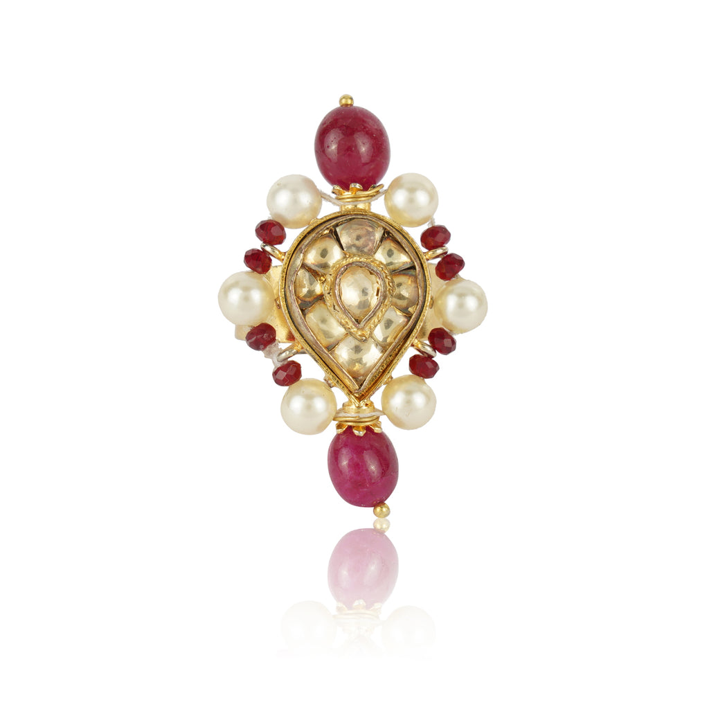 Gold Plated Kundan Ruby Ring