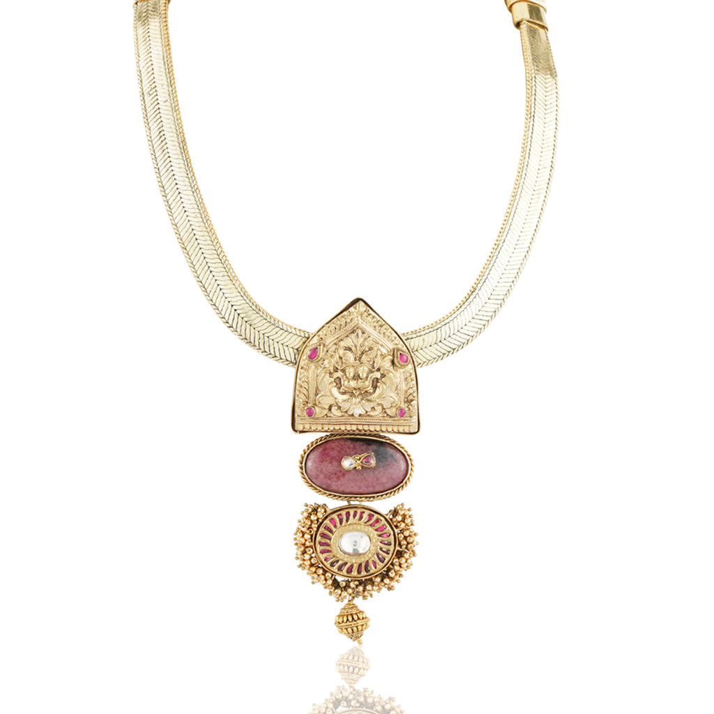 Gold Plated Sankranti Temple Ruby Peacock Necklace Set