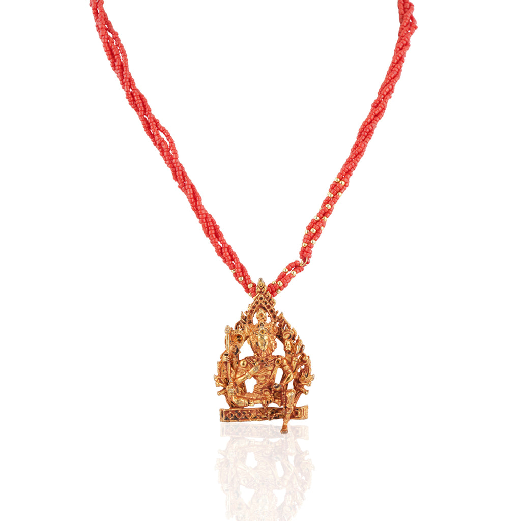 Gold Plated Sankranti Temple Coral Necklace Set
