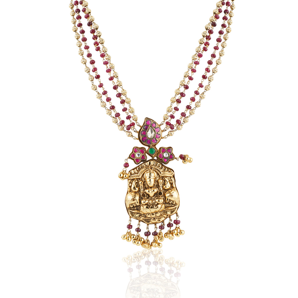 Gold Plated Sankranti Temple Ruby Kundan Necklace Set