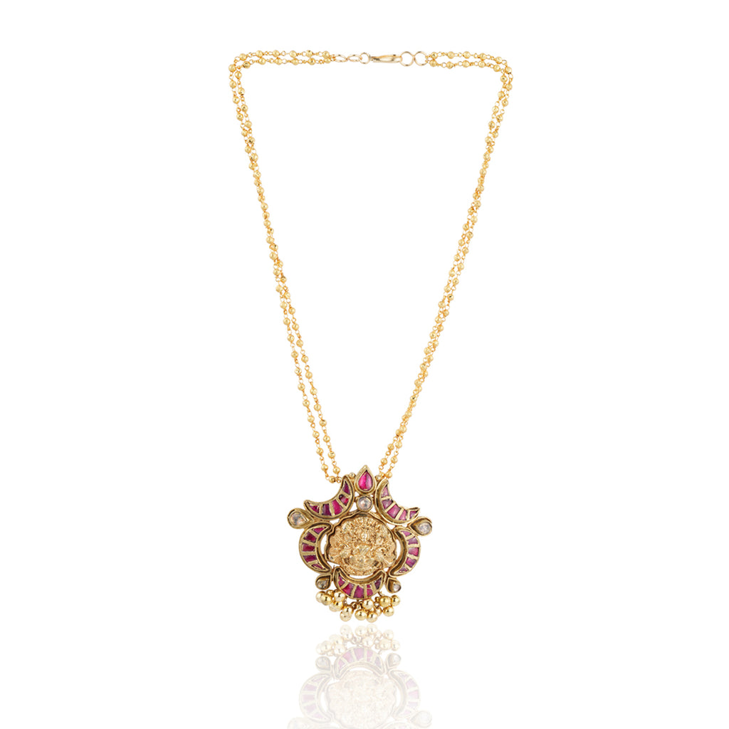 Gold Plated Sankranti Temple Ruby Necklace Set