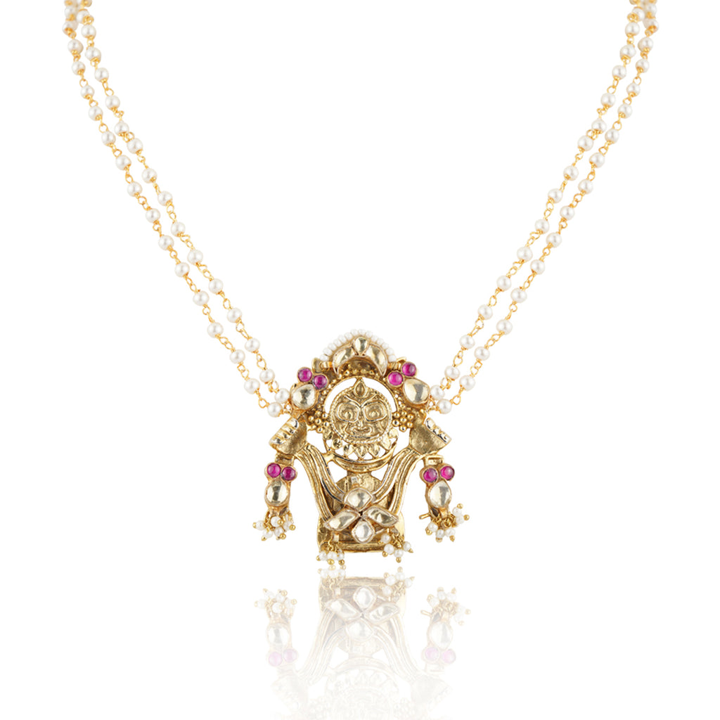 Gold PlatedSankranti Temple Kundan Necklace Set