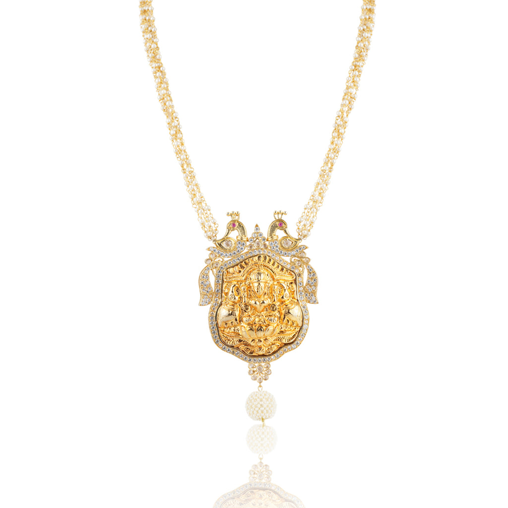Gold Plated Sankranti Temple Peacock Necklace Set
