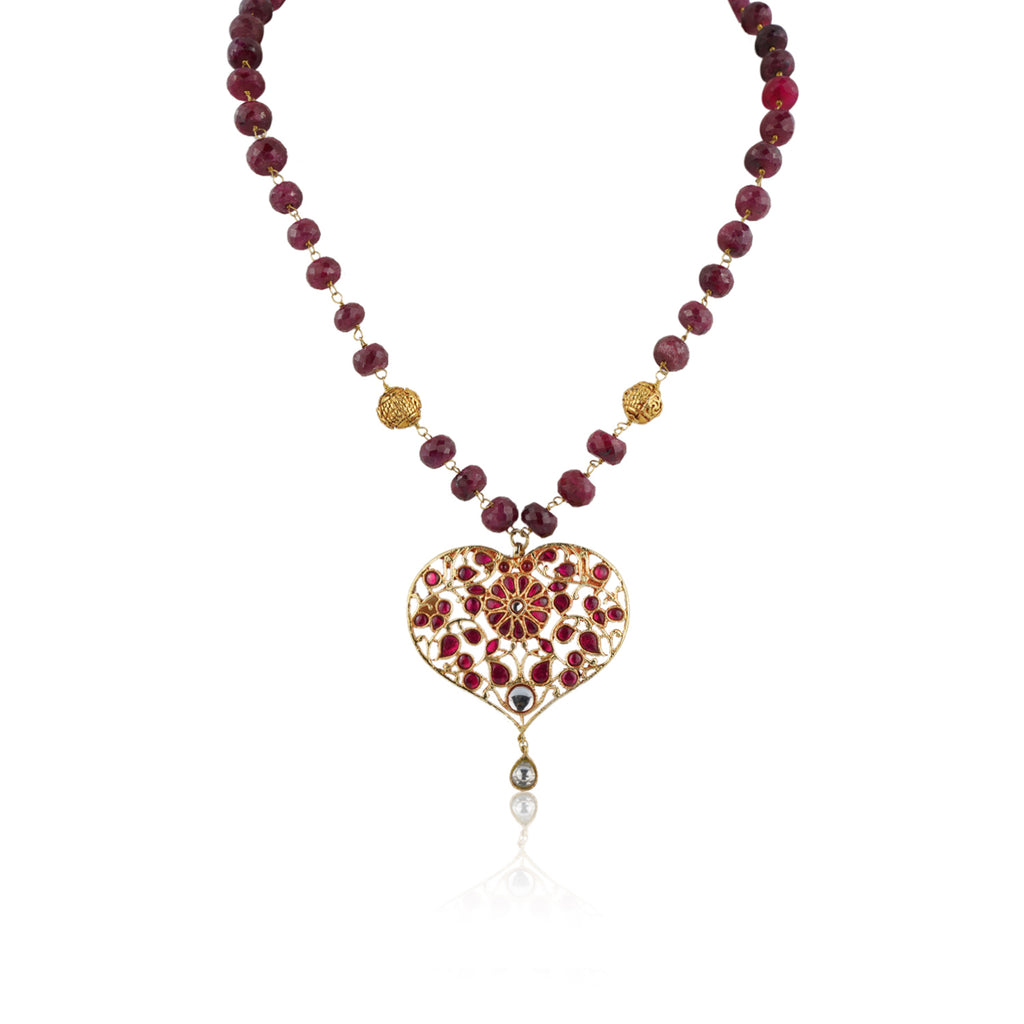 Gold Plated Pacchi Ruby Heart Necklace Set