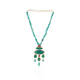 Gold Plated Taraash Green Onyx Kundan Necklace Set