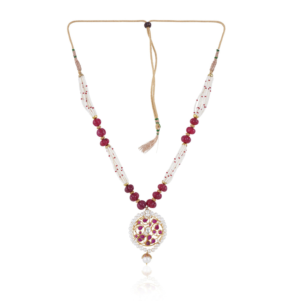 Gold Plated Valentine Ruby  Pearl Kundan Necklace Set