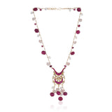 Gold Plated Valentine Kundan Rosequartz Necklace Set