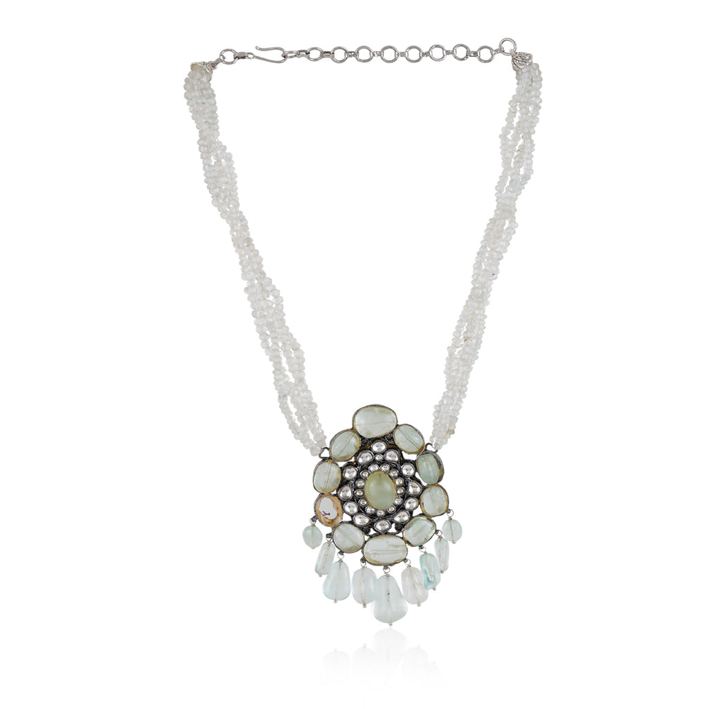 Silver Plated Valentine Kundan  Fluorite Necklace Set