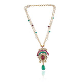 Gold Plated Valentine Green Red Kundan Necklace Set