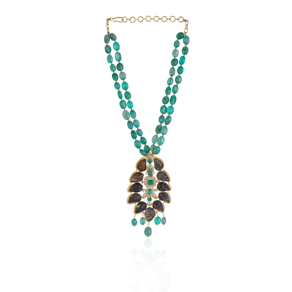 Gold Plated Taraash Tourmaline Green Onyx Necklace Set