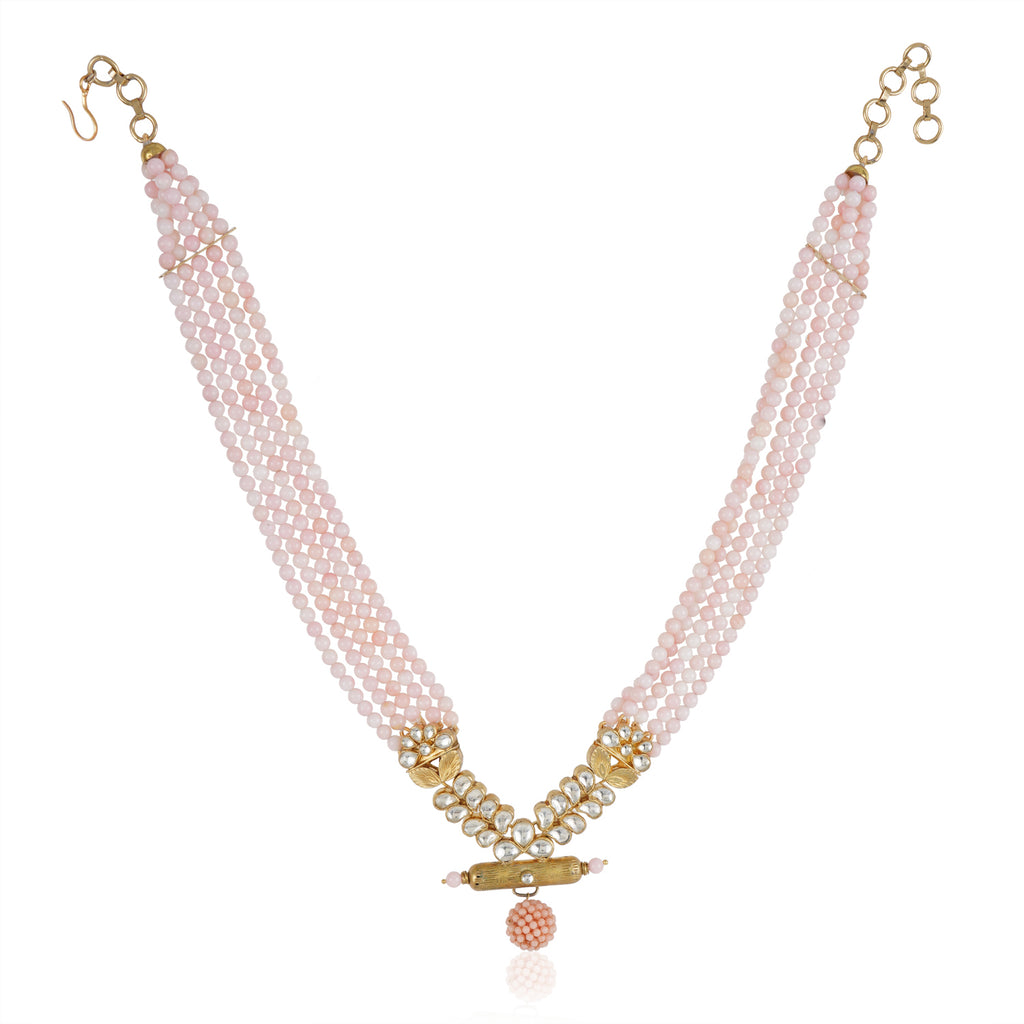 Gold Plated Valentine Pink Kundan Peacock Necklace Set
