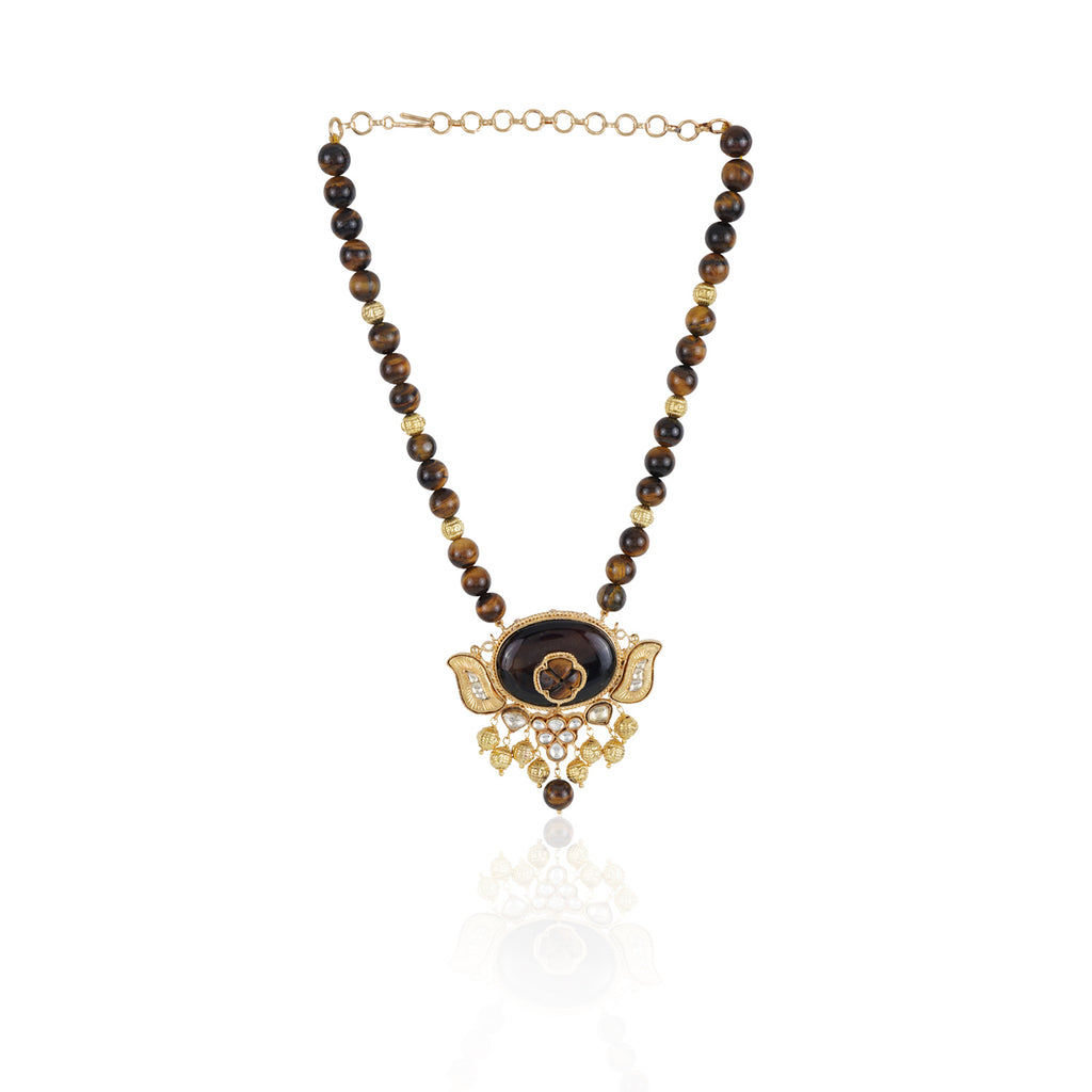 Gold Plated Taraash Tiger Eye's Kundan Necklace Set