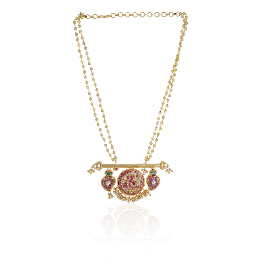 Gold Plated Taraash Red Kundan Long Necklace Set