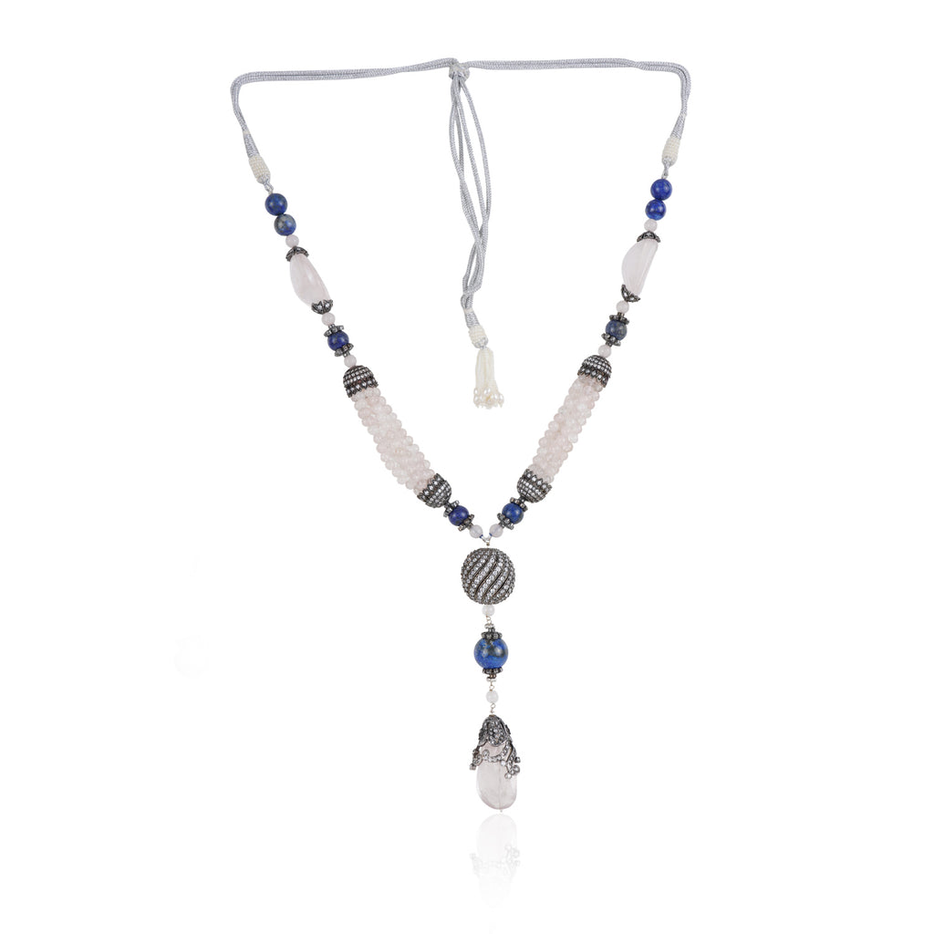 Silver Plated Valentine Victorian Pink Blue Lariat Necklace Set