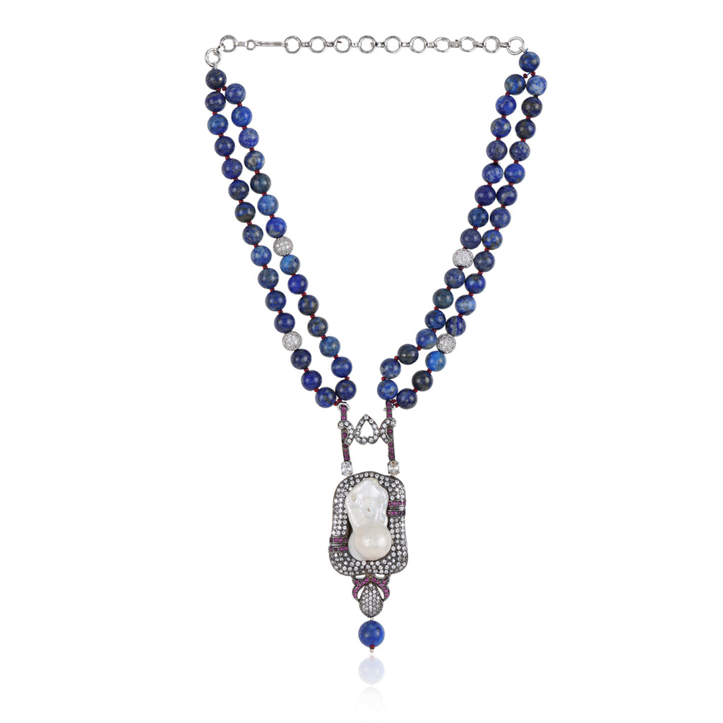 Silver Plated Valentine Blue Zircon Necklace Set