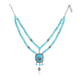 Silver Plated Valentine Victorian Turquoise Necklace Set