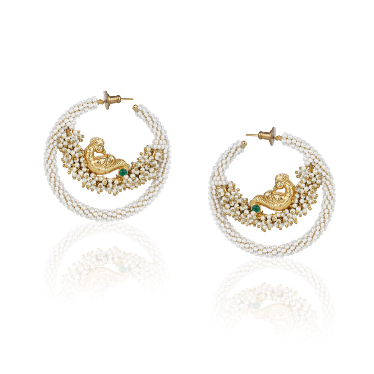 Gold Plated Kundala Bird White Chandbali Earrings