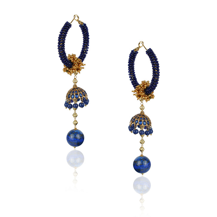 Gold Plated Kundala Blue Hoop Jhumki Earrings