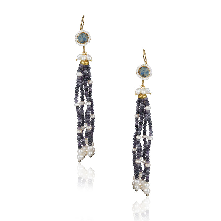 Gold Plated Kundala Iolite Tassel Earrings