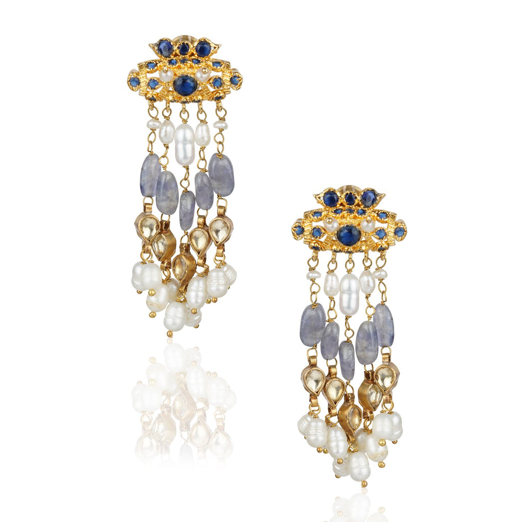 Gold Plated Kundala Blue Kundan Tassel  Earrings