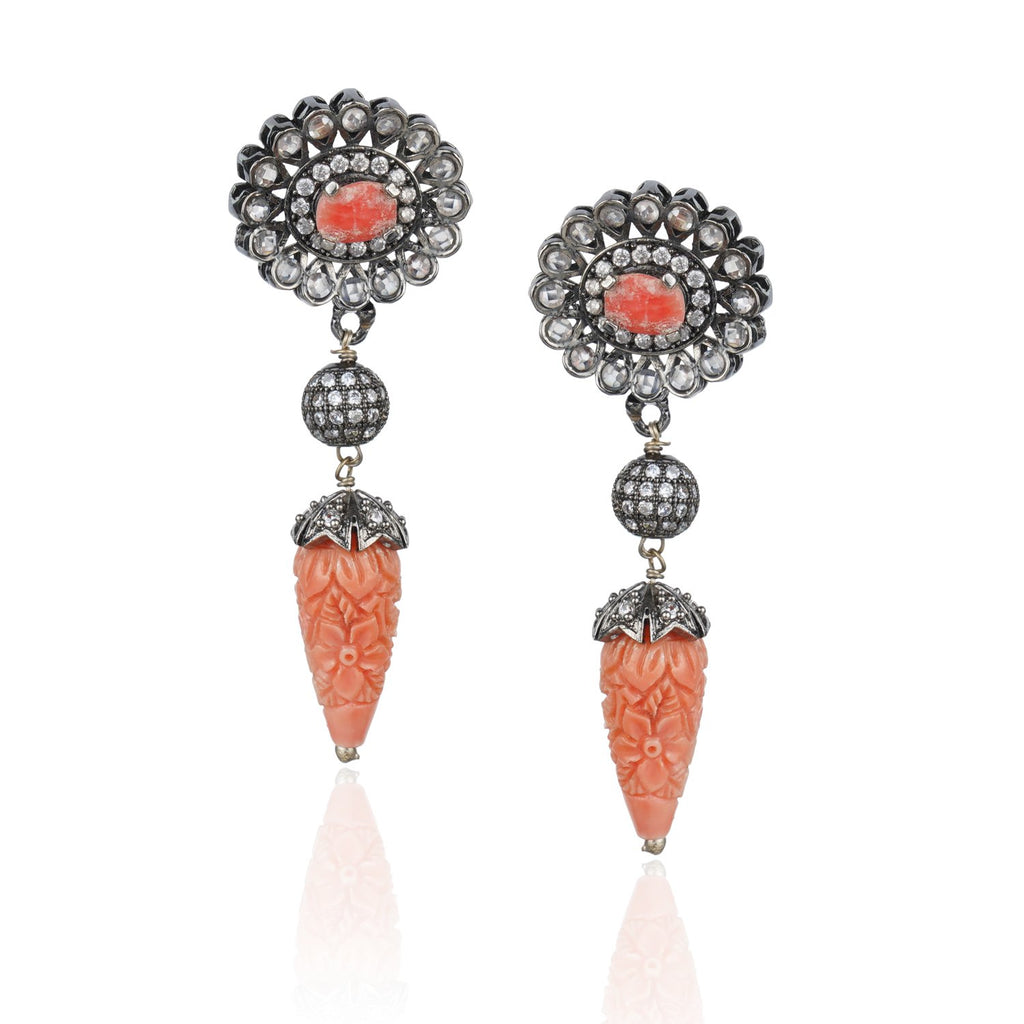 Silver Plated Kundala Zircon Pink Coral Earrings