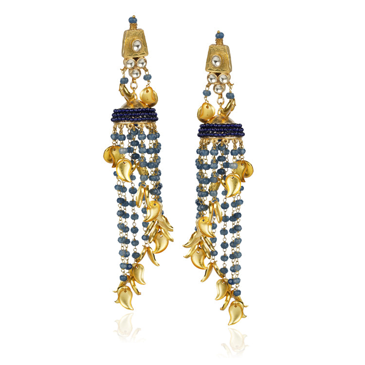 Gold Plated Kundala Blue  Kundan Tassel Jhumki Earrings