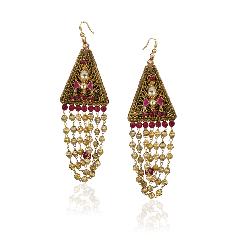 Gold Plated Kundala Kundan Tassel Earrings