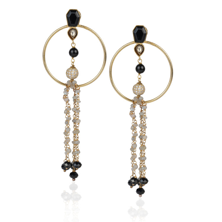 Gold Plated Kundala Tassel Chandelier Earrings