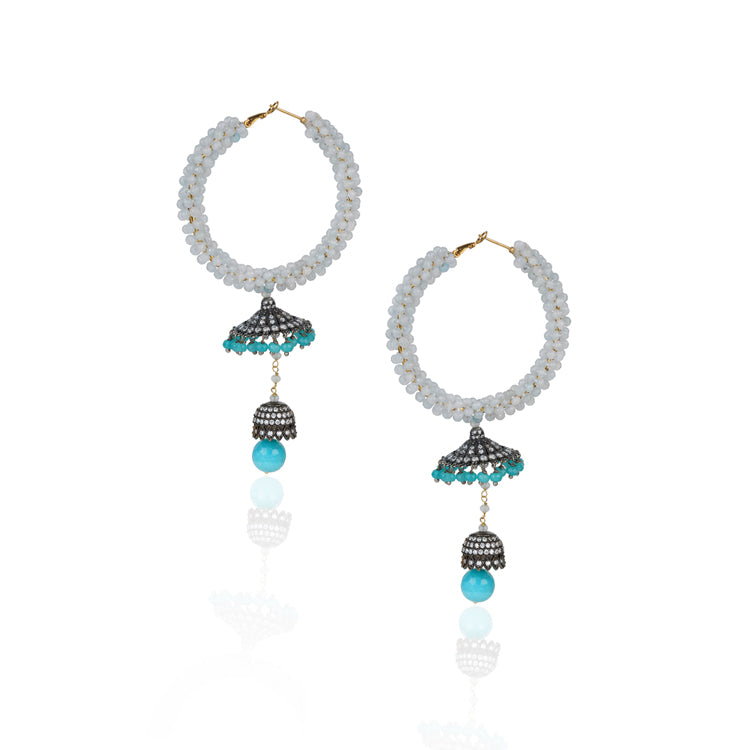 Silver Plated Kundala Blue Zircon Chandelier Earrings