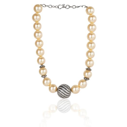 Silver Plated Dor Golden Pearl Necklace Set