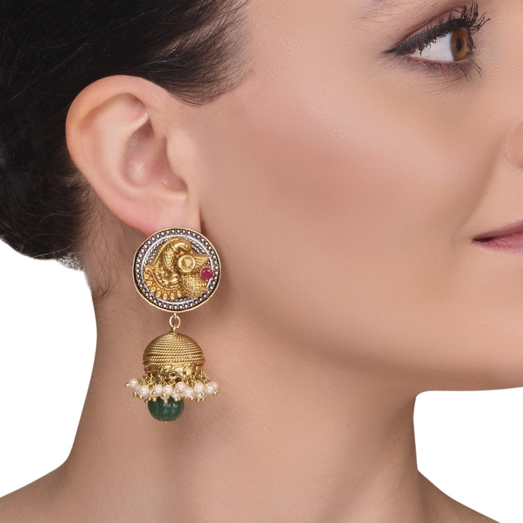 GOLD PLATED MONSOON RED GREEN JHUMKIS