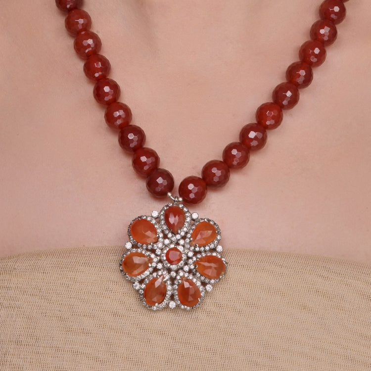 SILVER PLATED MONSOON ORANGE ZIRCON NECKLACE