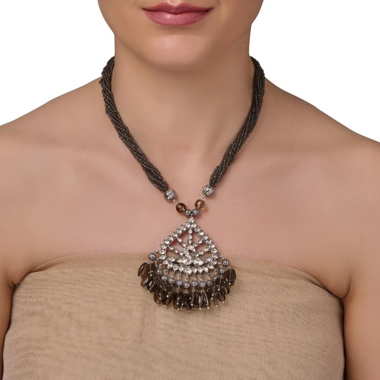 SILVER PLATED MONSOON BROWN KUNDAN NECKLACE