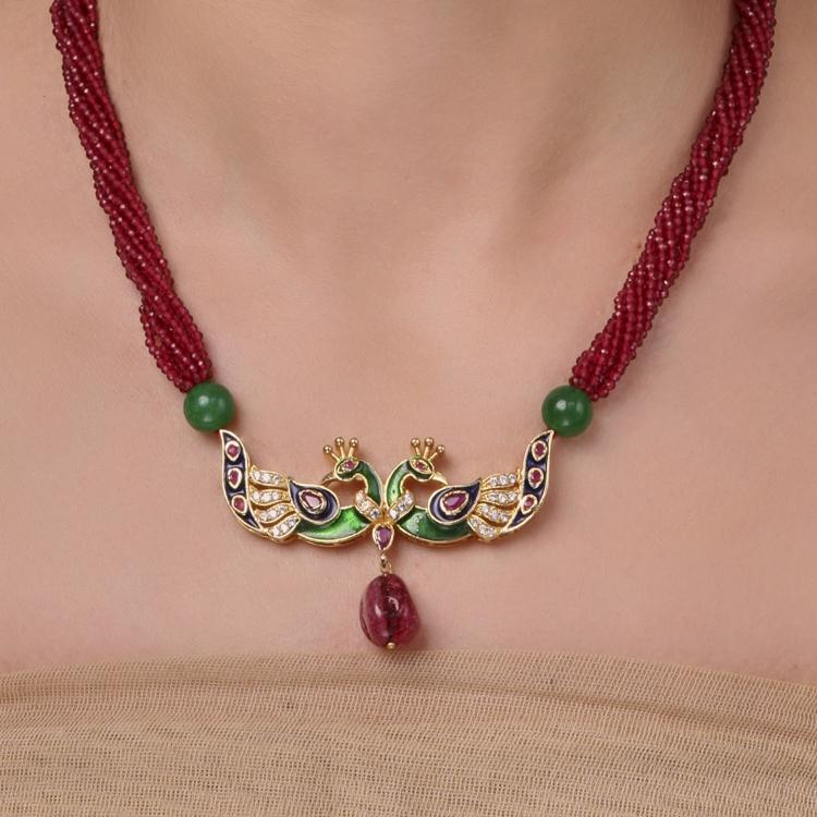 GOLD PLATED MONSOON RED GREEN PEACOCK NECKLACE