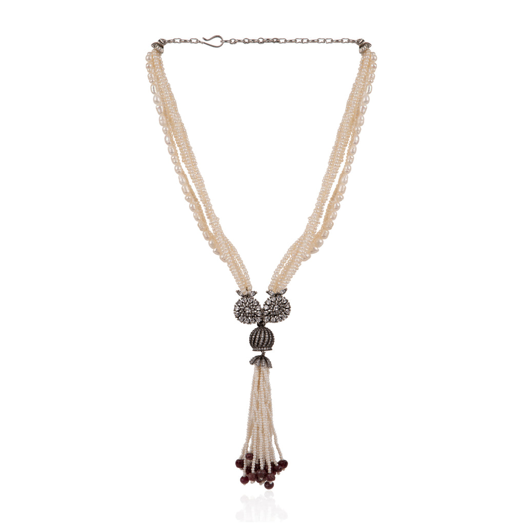 Zircon Sautoir Tassel Pearl Necklace