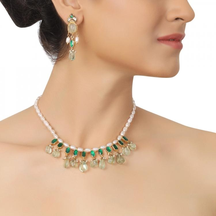 GOLD PLATED PURNA GREEN KUNDAN FLUORITE NECKLACE SET