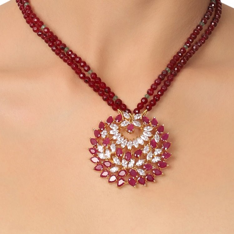 GOLD PLATED PURNA RUBY ZIRCON PENDANT NECKLACE SET
