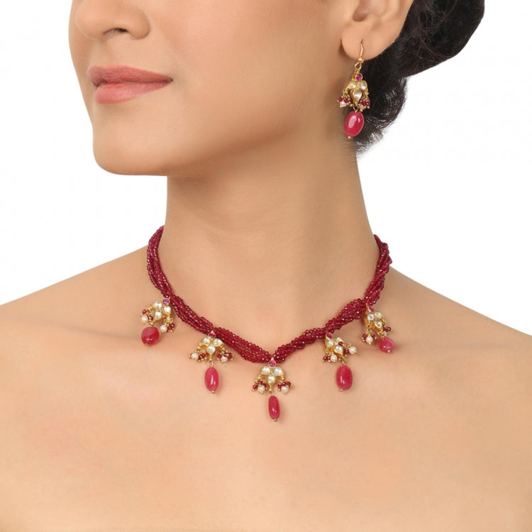 GOLD PLATED PURNA RUBY KUNDAN NECKLACE SET